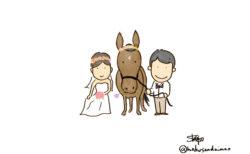 馬との前撮り イラスト| ショーゴ