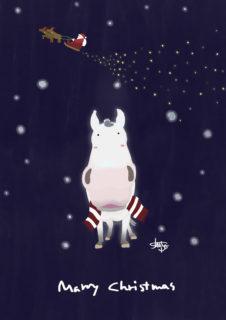 芦毛のクリスマス2020 イラスト  ショーゴ